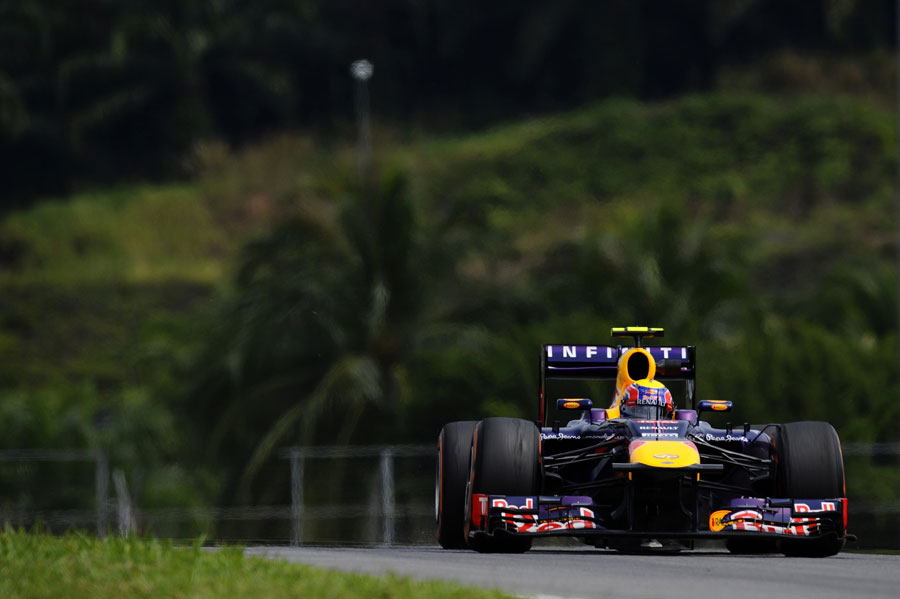 Mark Webber at speed on the hard tyre