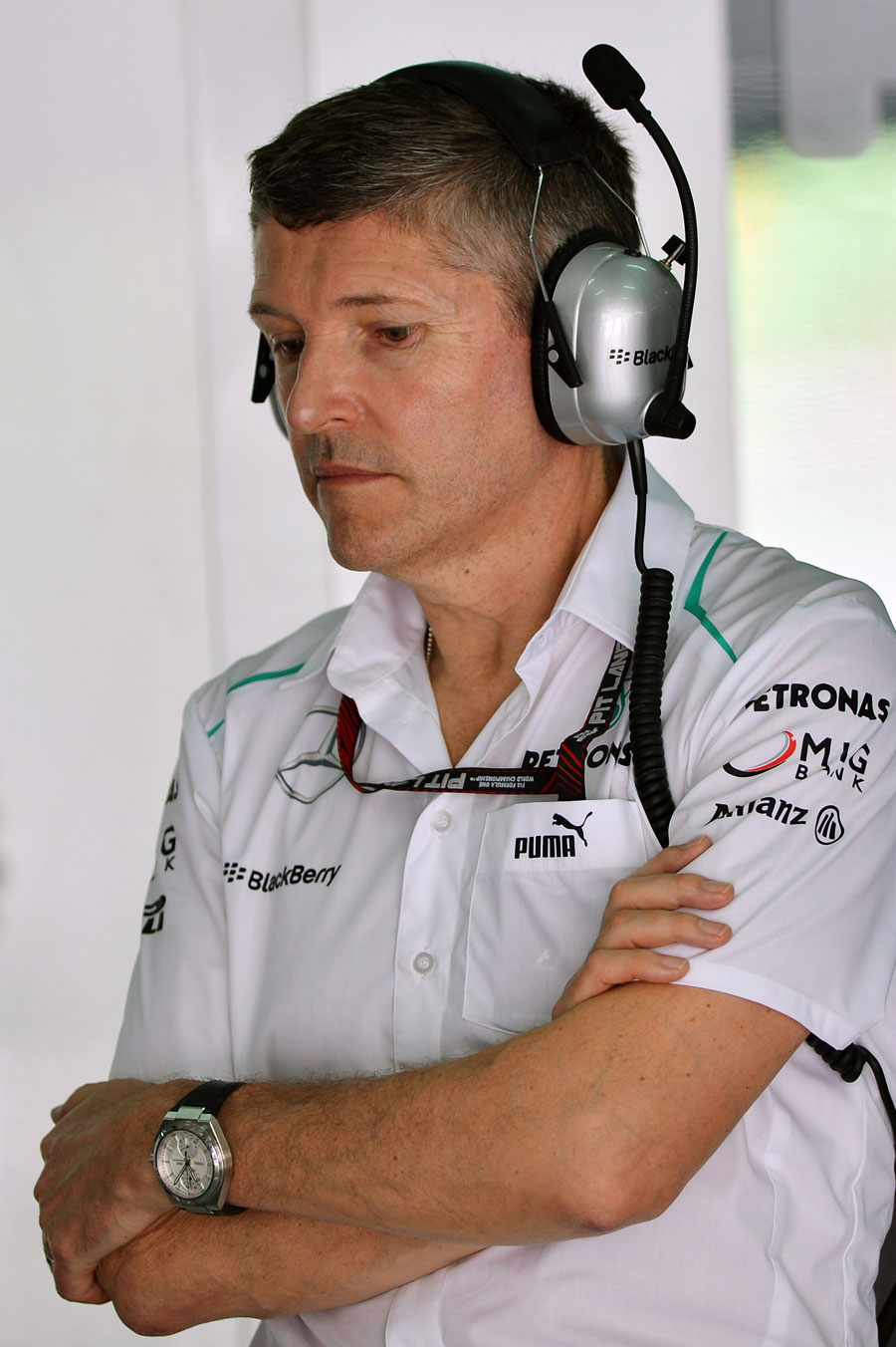 Nick Fry in the Mercedes garage at his last race as the team's CEO