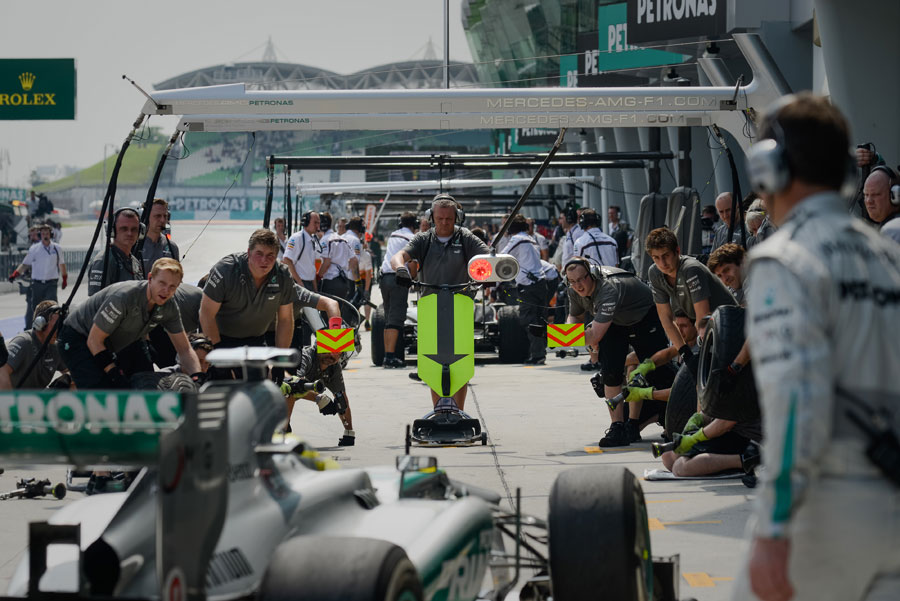 Mercedes prepares to simulate a pit stop