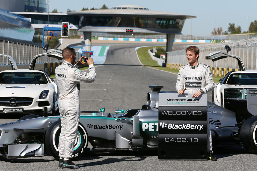 Nico Rosberg and Lewis Hamilton promote a new Mercedes sponsor