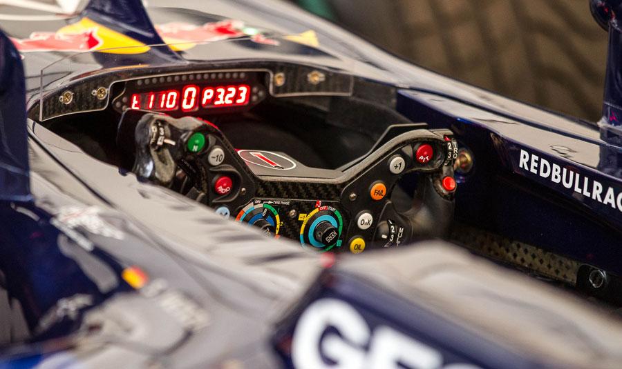 The cockpit of Sebastian Vettel's Red Bull