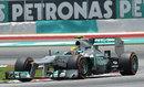Lewis Hamilton on the hard tyres
