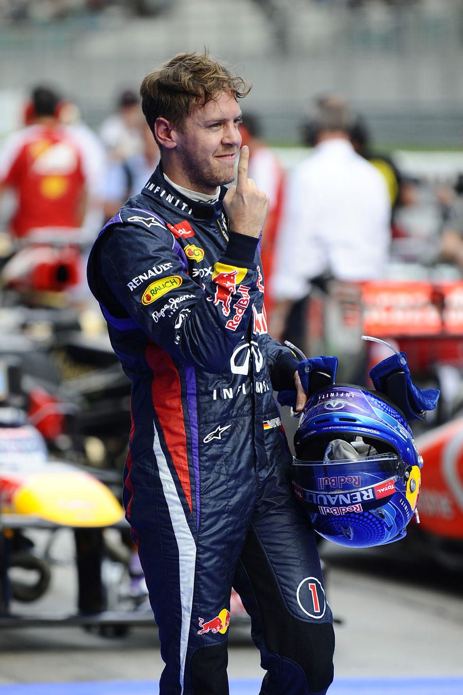The customary Sebastian Vettel celebration after qualifying on pole