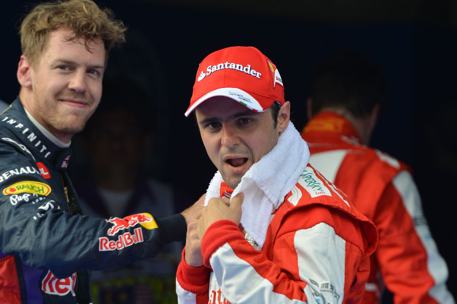 Felipe Massa and Sebastian Vettel in parc ferme