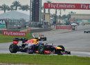 Sebastian Vettel leads the race early on