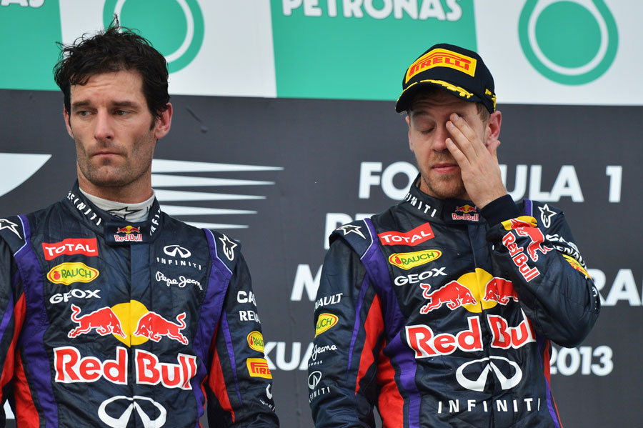 Sebastian Vettel and a livid Mark Webber on the podium