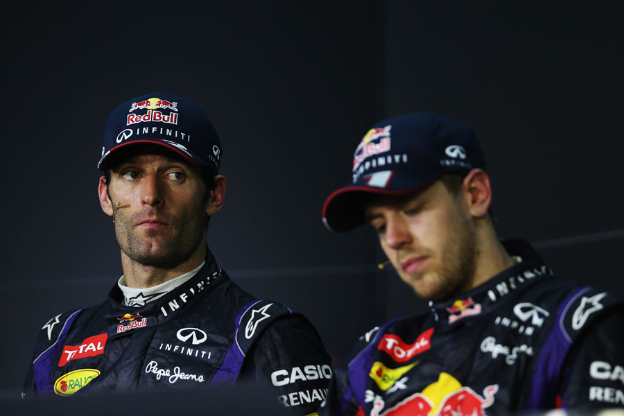 Sebastian Vettel and Mark Webber in the post race press conference