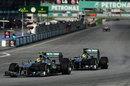 Nico Rosberg shadows Lewis Hamilton in to turn one