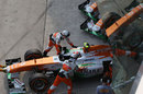 Force India retire Adrian Sutil from the race