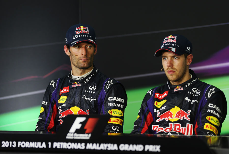 Sebastian Vettel and Mark Webber during a tense driver press conference