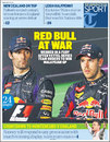 The front page of the sports supplement in Monday's Daily Telegraph