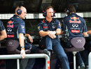 Christian Horner and Adrian Newey on the pit wall