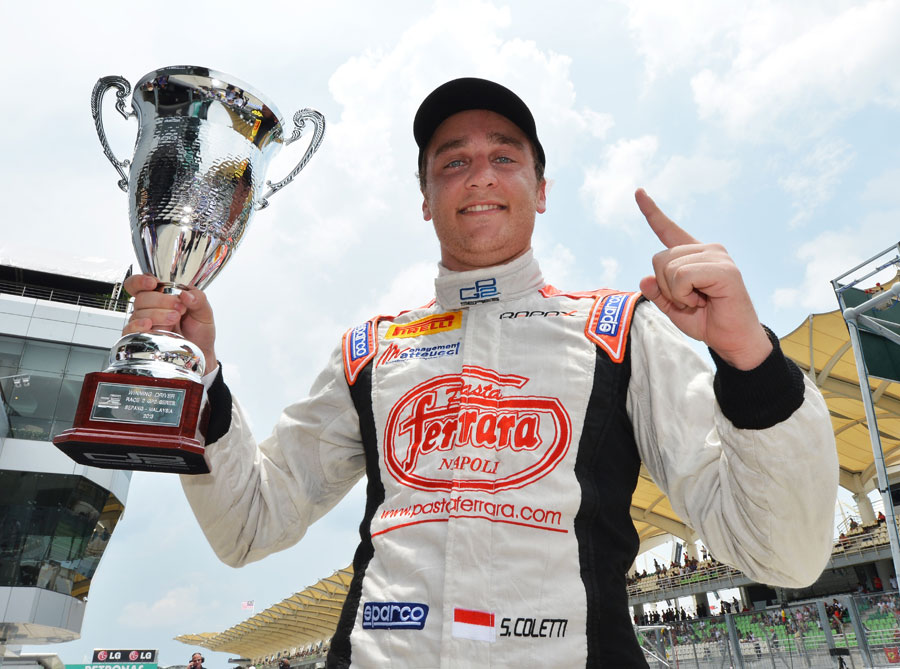 Stefano Coletti celebrates his victory in the Malaysian sprint race