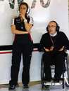 Claire and Sir Frank Williams in the garage