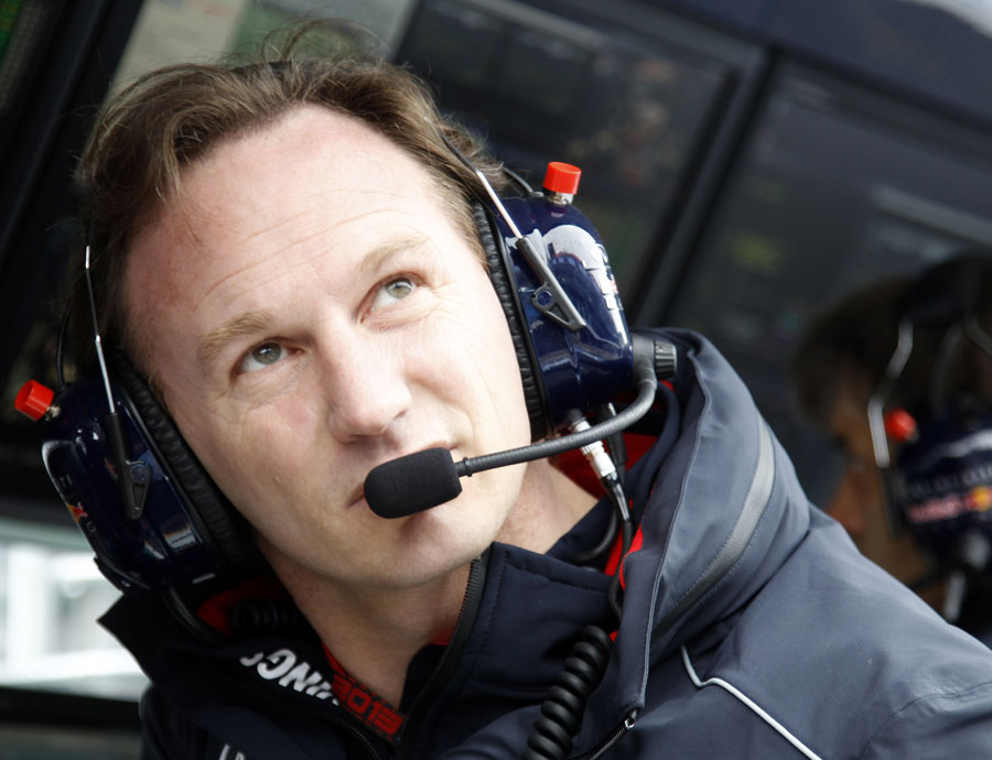 Christian Horner looks to the skies from the Red Bull pit wall