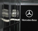 The Mercedes-Benz logo in the Mercedes garage