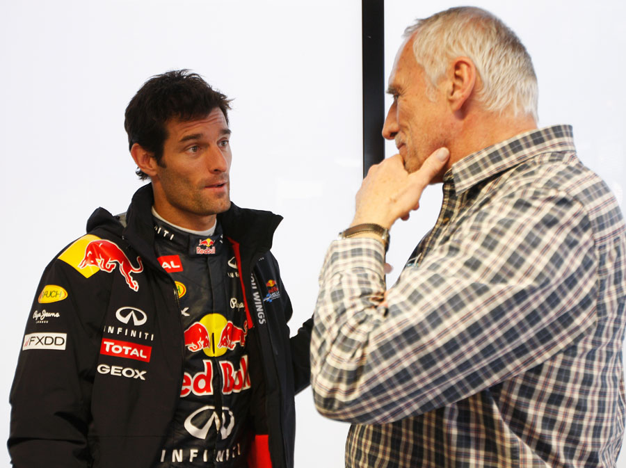 Mark Webber talks with Dietrich Mateschitz in the motorhome