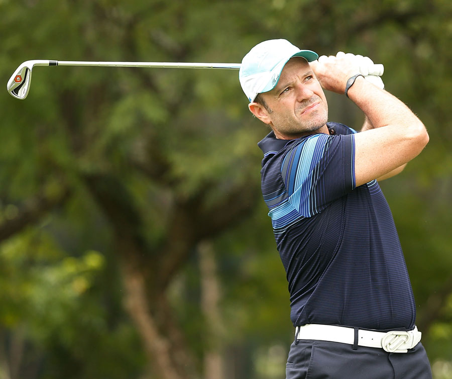 Former F1 driver Rubens Barrichello in action during the pro-am at the Sao Paulo Golf Club