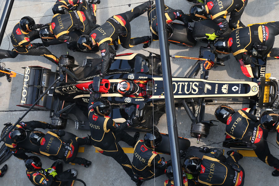Lotus complete a pit stop
