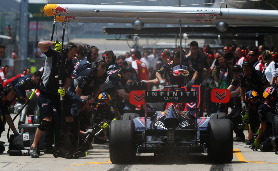 Sebastian Vettel makes a practice pit stop