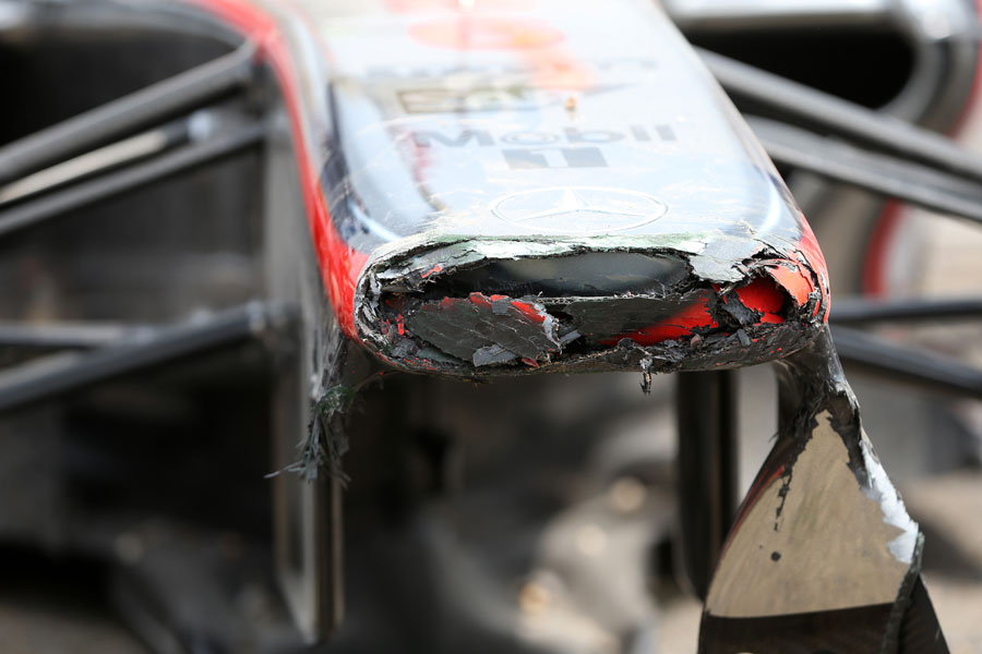 The damaged nose of Sergio Perez's McLaren