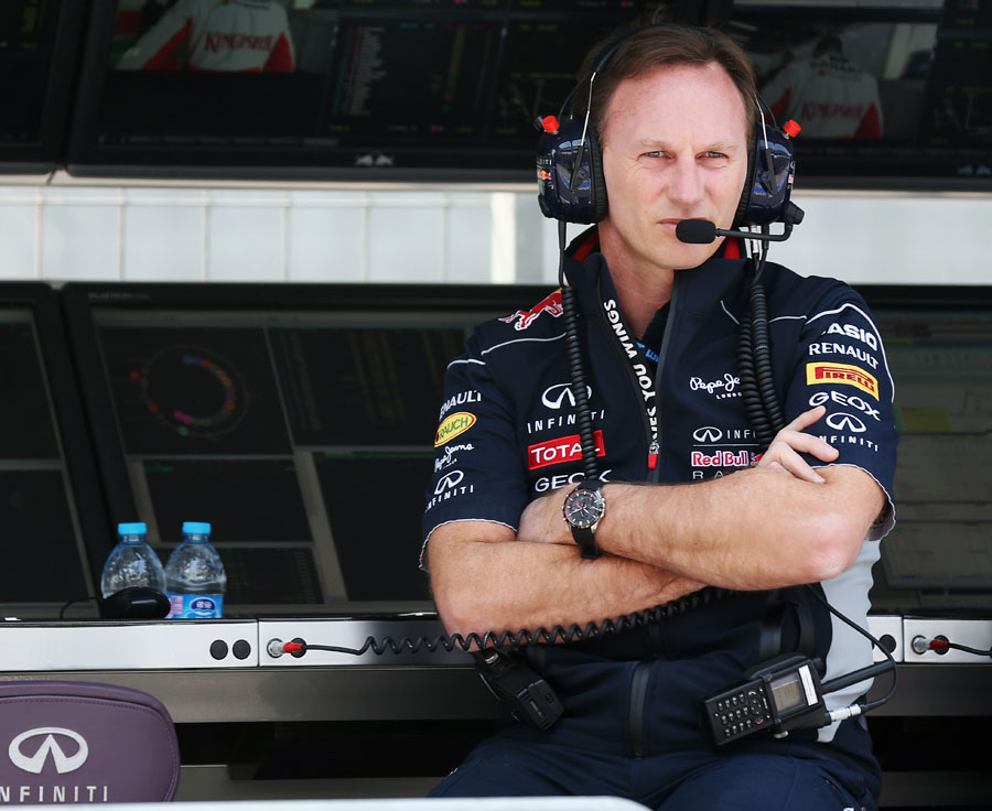 Christian Horner watches Friday practice from the pit wall