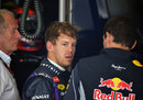 Sebastian Vettel in the Red Bull garage