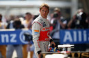 Jenson Button in parc ferme after qualifying in eighth place