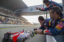 Toro Rosso celebrates as Daniel Ricciardo brings the car home in seventh