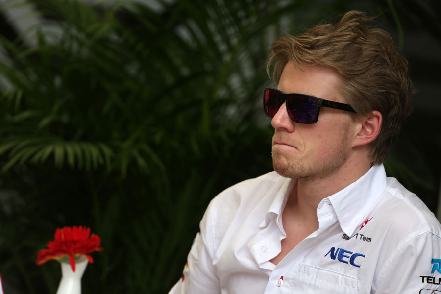 Nico Hulkenberg answers questions from the press
