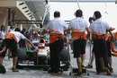 Adrian Sutil hits his pit marks outside the Force India garage