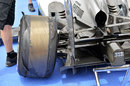 The left rear tyre of Lewis Hamilton's Mercedes after a failure in final practice