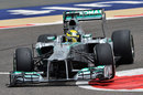 Nico Rosberg rides the kerbs on medium tyres