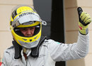 Nico Rosberg celebrates taking pole position