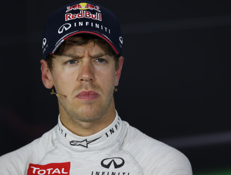 Sebastian Vettel answers questions in the press conference