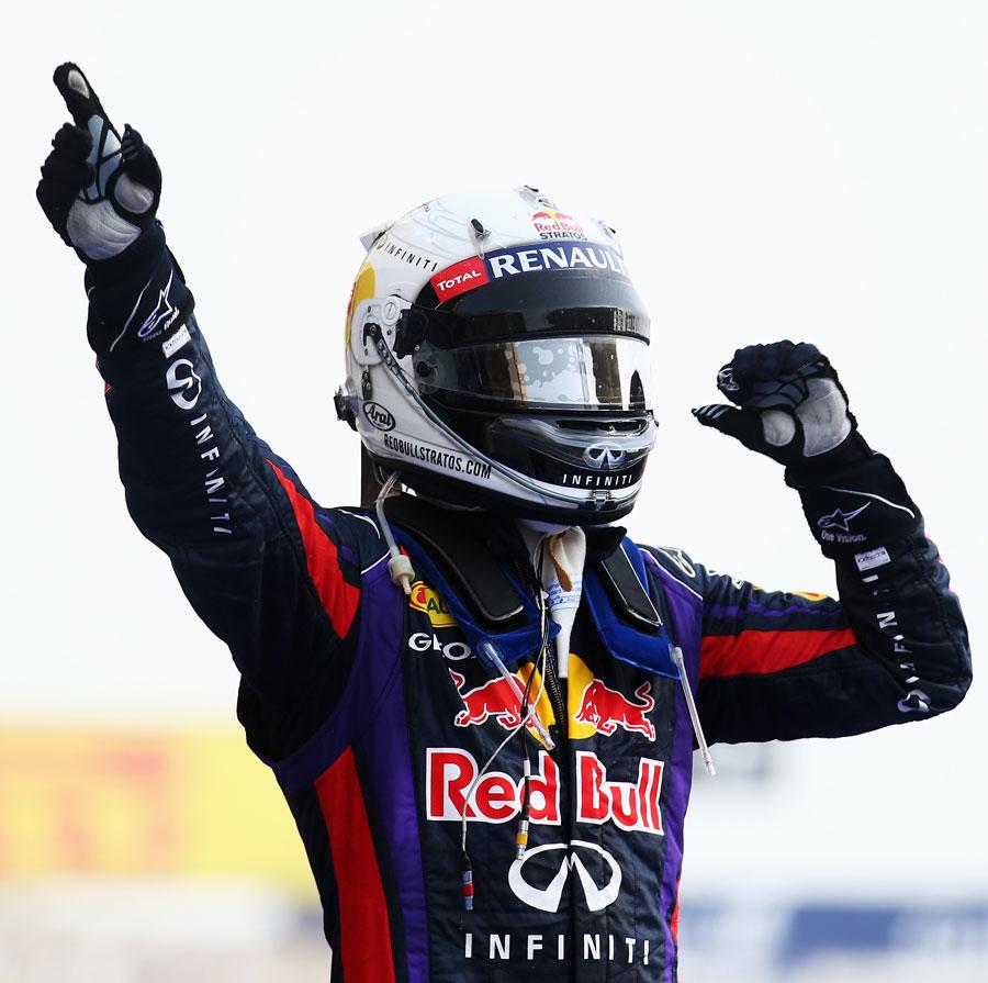 Sebastian Vettel celebrates his second victory of the season