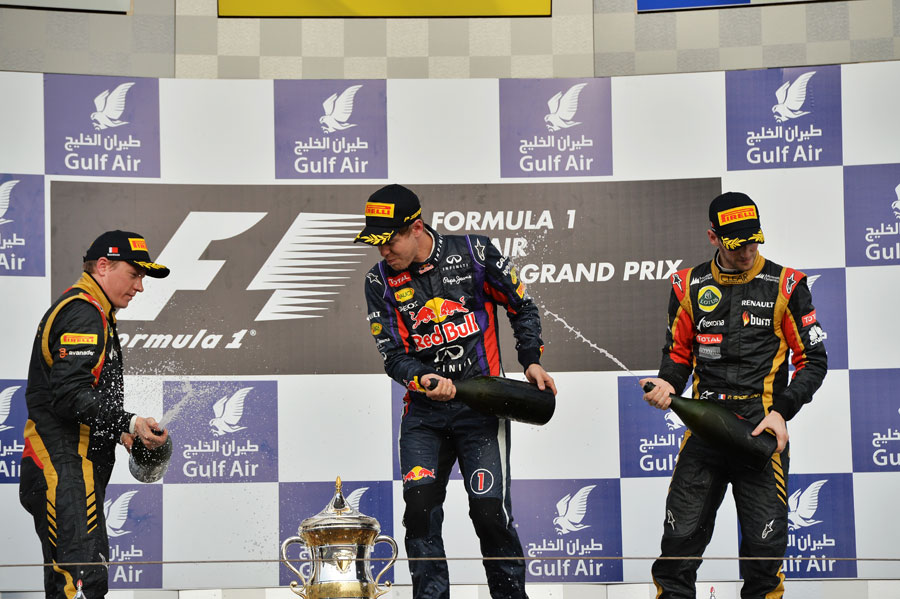 The top three drivers on the podium