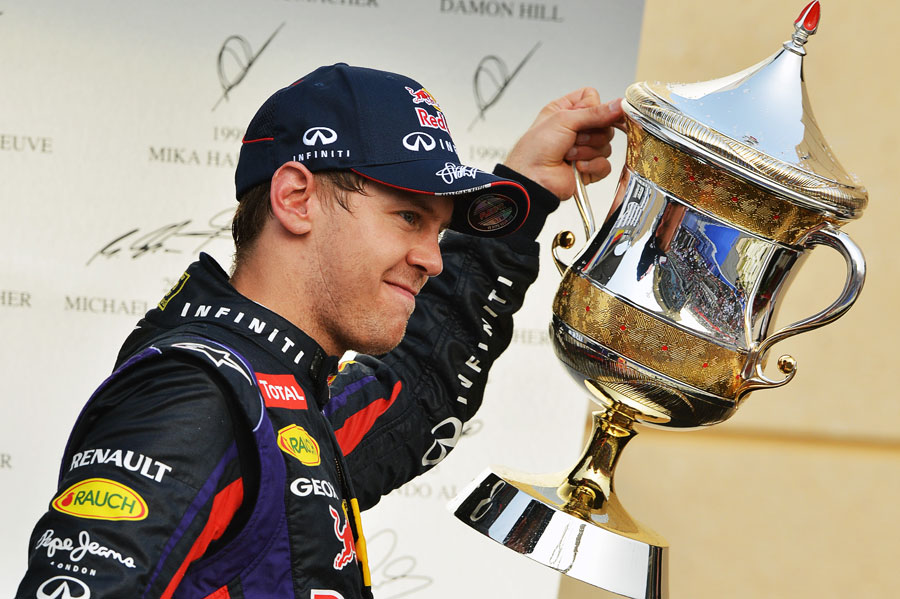 Sebastian Vettel celebrates his second victory of the season