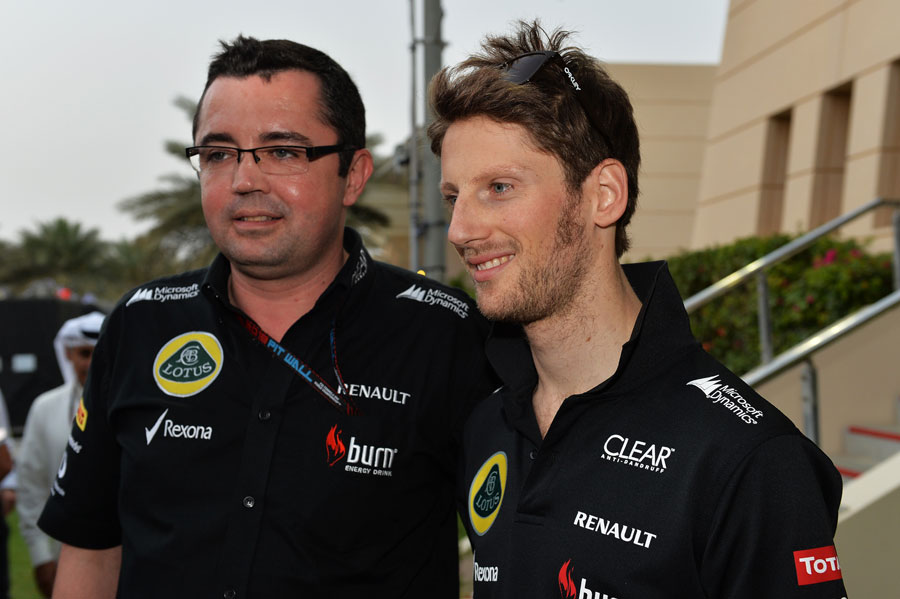 Romain Grosjean and Eric Boullier after Lotus' double podium finish