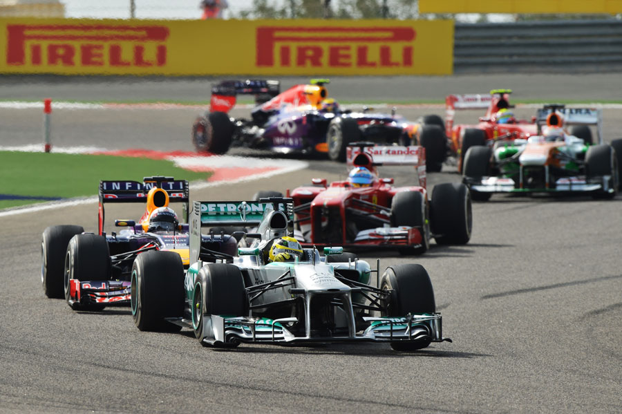 Nico Rosberg leads the field into turn two
