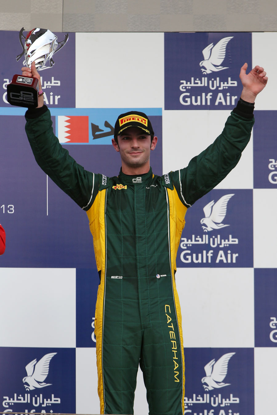 Alexander Rossi celebrates his third place in the feature race