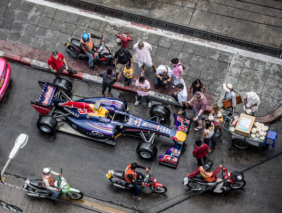 A Red Bull RB6 parked on the street in Bangkok