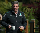 Ross Brawn in the paddock with his breakfast