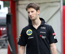 Romain Grosjean arrives in the paddock