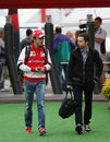 Felipe Massa arrives at the circuit on Friday morning
