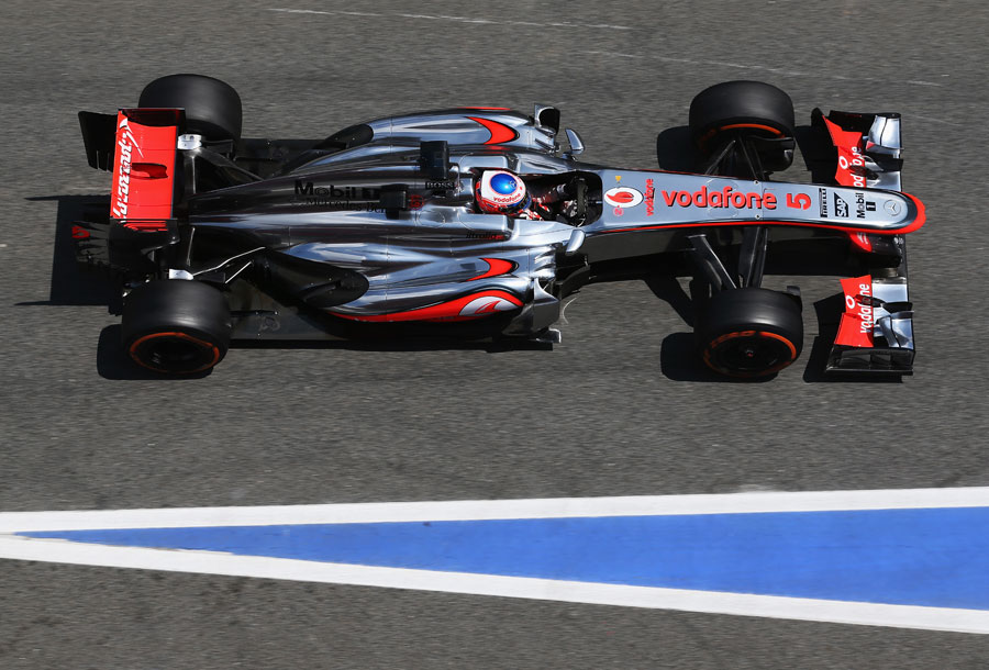 Jenson Button leaves the pits