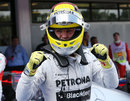 Nico Rosberg celebrates taking pole position is Spain