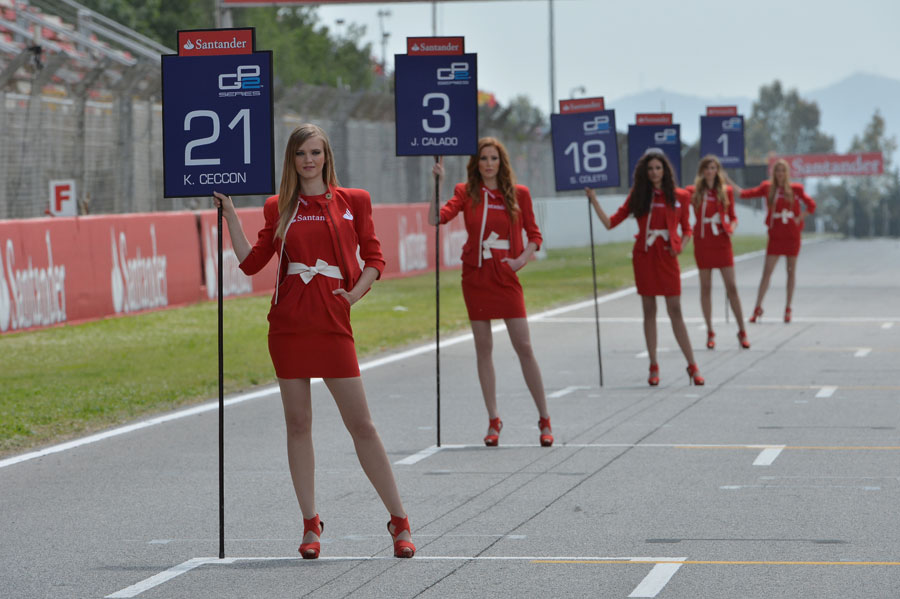 Grid girls hard at work ahead of the first GP2 race