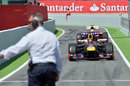 Sebastian Vettel returns to the pits after finishing fourth