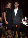 Lewis Hamilton with Alicia Keys at a promotional event in the USA